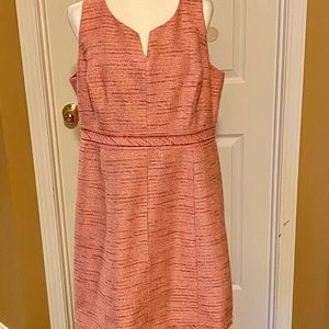 WHBM PINK GOLD TWEED SHIFT DRESS SIZE 16